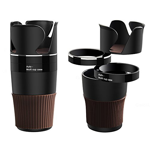 Car Cup Holder,Xultrashine 5 in 1 Multi-Functional Holds Mugs Organizer,Adjustable Car Cup holder with Drink Phone Holder And Little Stuff Storage Cup, Black