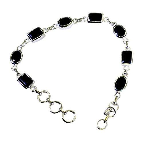 (Genuine Black Onyx 925 Sterling Silver Bracelet For Women Link Spring Ring Clasps Handmade L 6.5-8 Inch)