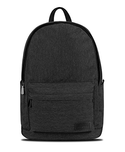 ibagbar Unisex Classic School Backpack Water Resistant Casual Daypack Travel Rucksack 15.6 inch Laptop Bag (Black - Backpack New Genuine Large Leather