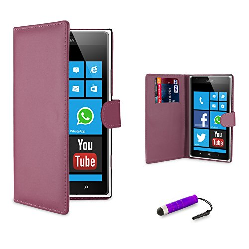 32nd® Book wallet PU leather case cover for Nokia Lumia 620 + screen protector, cleaning cloth and touch stylus - Purple