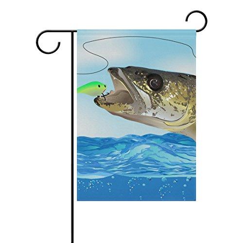 """LEISISI Walleye Fish Take The Bait Garden flag 28""""X40"""" Two S"""