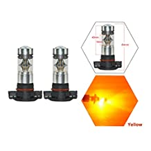 NJYTouch 2Pcs H16 5202 2504 PSX24W Amber Yellow Car Fog Light Auto LED Driving Daytime Running Light DRL Lamp Bulbs 100W Projection