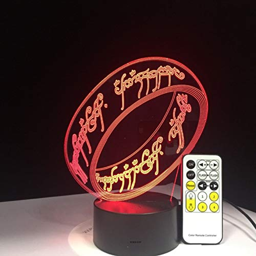Lord of The Rings 3D Lamp 7 Colors Kids Gift Touch Night Light for Children Holiday 3D Illusion Desk Lamp Movie Memory Present,Sykdybz ()