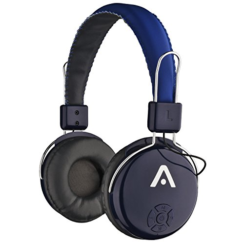 Audiomate A21 Wireless Bluetooth Headphones with Integrated FM Radio, Microphone and Micro SD Card Slot - Black / Blue