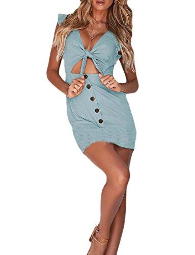 Luce Sexy Strappy Coolred Petto Hip Singola Pacchetto Tunica Solido A donne Vestito V Scollo Verde IwZAfAXxqE