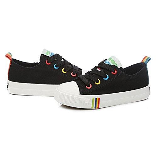 Btrada Kinderen Unisex Canvas Zijrits Casual Sport Athlestic Sneakers (peuter / Klein Kind / Groot Kind) Zwart