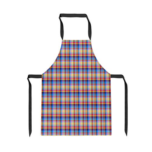 Pinbeam Apron Traditional Scottish Plaid Tartan Cell Graphics for The with Adjustable Neck for Cooking Baking Garden