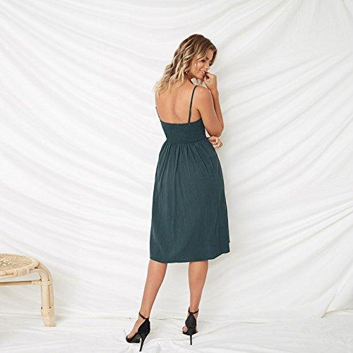 Choies Enregistrer Votre Mode Inspiré Boho Femmes Cravate Bouton Avant Vers Le Bas Bretelles Spaghetti Floral Sans Dossier Style Oscillant 1-malachite Robe Midi Vert