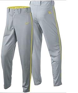 Nike Boys Swingman Dri-FIT Piped Baseball Pants (Grey/Yellow, X-Large)