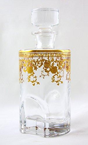 24% Crystal Lead Award - Denizli Spirits Whisky Bottle Handmade Crystal Decanter with 24K Gold Ornament, Lead Free (25 Oz, Venice)