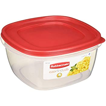 Rubbermaid 085275709254 Easy-Find Lid Food Storage Container, 14-Cups, Pack of 2, 2-Pack, Red