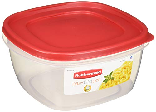 (Rubbermaid 085275709254 Easy-Find Lid Food Storage Container, 14-Cups, Pack of 2, 2-Pack Red)
