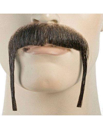 [Fu Manchu M11L Human Hair Handmade Mustache - Black] (Fu Manchu Costumes)