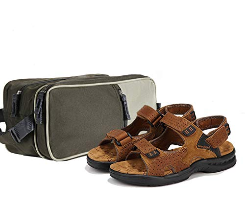 MarsRoad Men's Sandals Leather Open Toe Outdoor Sandals with a Toiletry Bag for Men Large Capacity