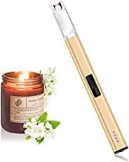Candle Lighter USB Rechargeable Electric Arc Lighter Windproof Flameless Plasma Lighters Long Grill Lighter wi