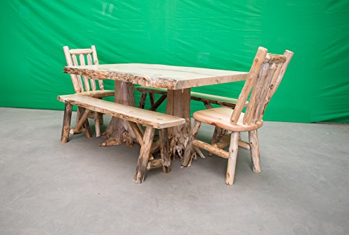 """Midwest Log Furniture - Northern Rustic Pine Log Stump Kitchen/Dining Table 40"""" Wx60 L - 2 Chairs/2 Benches"""
