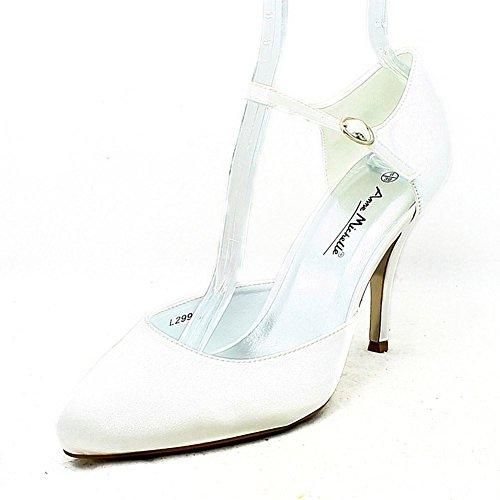 zapatos de la boda llanura de tacón alto de satén con la correa del tobillo delgada White