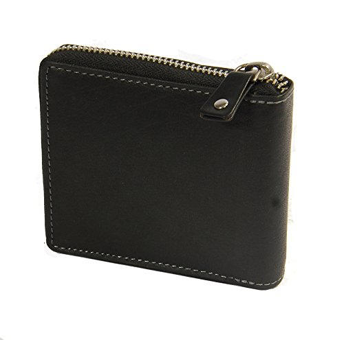 Basel Wallet Of Leather Black Pocket Mens RFID Boxed Bifold House Around Cash Holder Coins Leather ID Zip Gift naA0qwxwH
