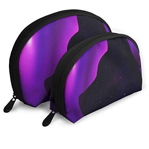 Makeup Bag Galaxy Wolf Purple Portable Shell Makeup Case For Girls Halloween Gift 2 Piece