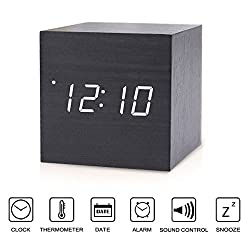 Copoluck Wooden Cube Digital LED Alarm Clock Sound Control Small Square Desk Clock Date Time and Temperature Displaying, Bedside Click Clock for Home Office Kids (White Light)