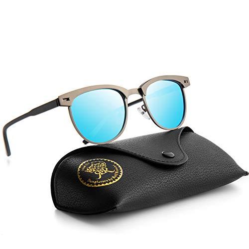 Semi Rimless Polarized Sunglasses for Men Classic Metal Retro Rivets Women Sun Glasses with Case (Gun/Blue)