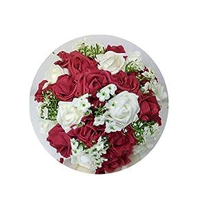 Artificial-Flowersbridal Bouquet for Wedding Blue and White Wedding Bouquet Handmade Artificial Flower Rose Buque Casamento,19 113
