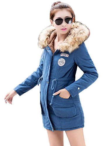 Drawstring Xiang Thick Women Ru Collar Long Hooded Jacket Blue r4X6vYqx4