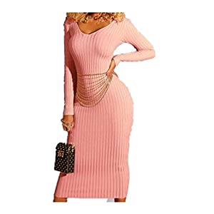 Aurorax 2019 New Womens Casual Knitted Maxi Dress for Spring Sexy Bodycon Loose Fit Long Sleeve O-Neck Dress