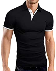 e3768e48a KUYIGO Men s Short Sleeve Polo Shirts Casual Slim Fit Basic Summer Cotton  Shirts