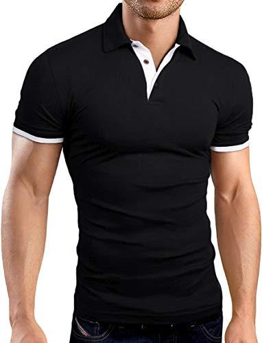 KUYIGO Men's Short Sleeve Polo Shirts Casual Slim Fit Basic Designed Cotton Shirts Small Black