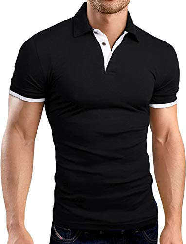 (KUYIGO Men's Short Sleeve Polo Shirts Casual Slim Fit Basic Designed Cotton Shirts Medium Black)