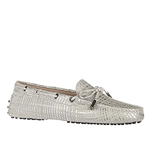 5a3a35748f1 hot sale Tod s women s suede loafers moccasins heaven laccetto occhielli  silver