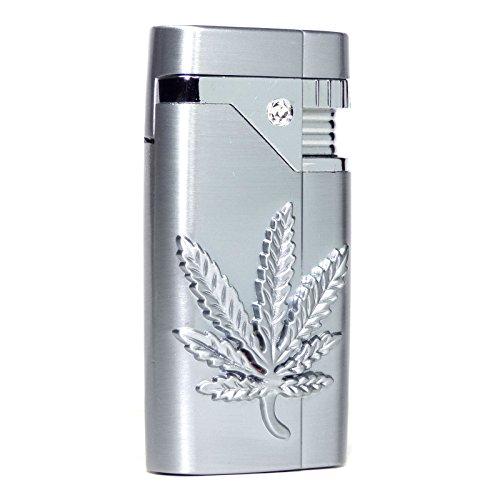 S107 - Cannabis Emblem Refillable Pocket Torch Lighter - Silver Color - Rhinestone - Rhinestone Chopper