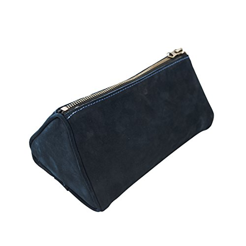 - Hide & Drink Soft Leather Travel Dopp Kit For Toiletries Handmade Blue Suede
