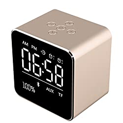 Wireless Bluetooth speaker,BOOMER VIVI Metal Mini Square Portable Speaker 2 sets of Alarm Clock LCD Screen 8H Playing Time TF Card for iPhone 6/6S/7 Indoor Outdoor(Gold)