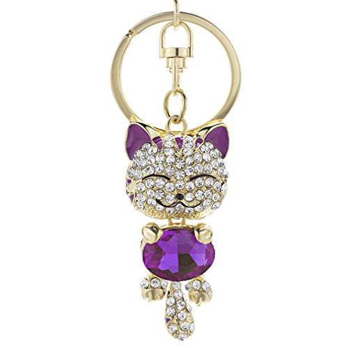 (Cute Cat Crystal Rhinestone Keyrings Key Chains Rings Holder Purse Bag For Car Lovely Keychains Purple)