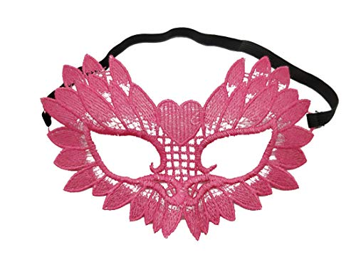 Halloween Sexy lace Masquerade Eye Venetian mask for Women Mardi gras Cosplay (M lace owl Rose Red) -