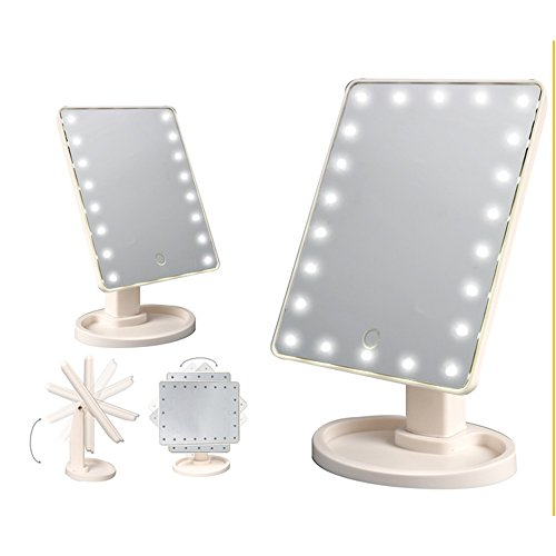 Cosprof LED Lighted Makeup Mirror,Touch Screen 16 LED Lighted Vanity Mirrors with Removable 10x Magnifying Mirrors,180 & 360 Degree Free Rotation Table Countertop Cosmetic Bathroom Mirror by Cosprof (Image #5)