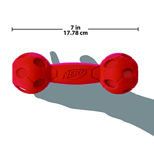 delicate Nerf Dog (2-Pack) Squeak Barbell Dog Toy, Red/Green, Medium