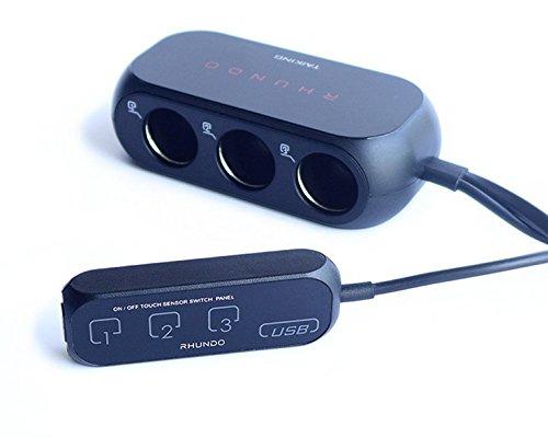 Car Cigarette Charger,Vstm 3 Way Lighter Socket Adapter Splitter USB Touch Panel (Car Cigerate Lighter Socket)
