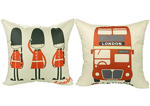 Luxbon Set of 2Pcs Lovely British Royal Guards Love London & The Routemaster Red London Bus Cotton Linen Sofa Couch Chair Throw Pillow Cases Decorative London Decor Cushion Covers 18