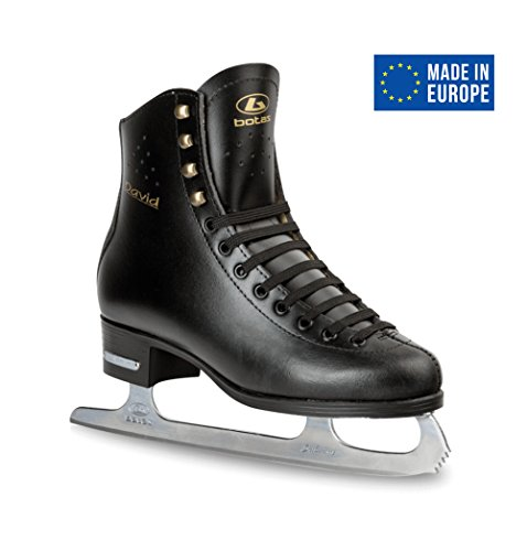 Leather Figure Skates (BOTAS - model: DAVID / Made in Europe (Czech Republic) / Comfortable Figure Ice Skates for Men, Boys / Real Leather Upper / Higher and Wider cut / SABRINA blades / Color: Black, Size: Adult 8)