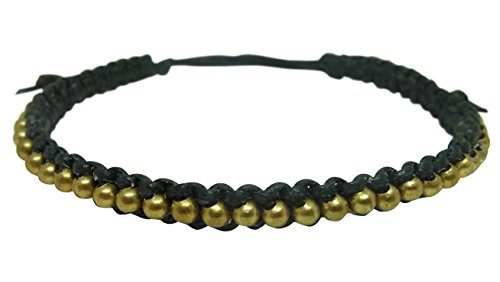 Bracelet Men Women Thai Buddhist Wristband Prayer Brass Bead Black Wax String Religion Fashion Handmade