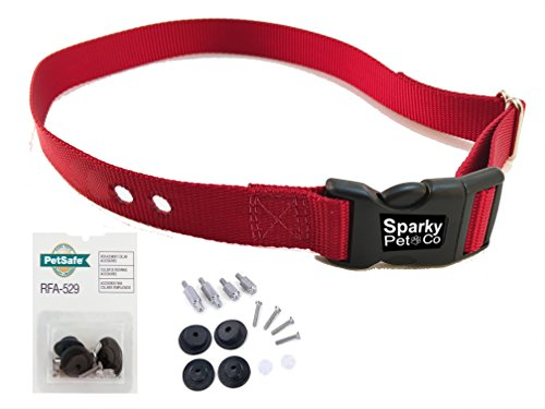 "Cheap Sparky PetCo Compatible ¾"" 2 Hole 1.25"" Replacement Collar Strap PetSafe 529 Kit, Red RFA 529 Kit, Red"