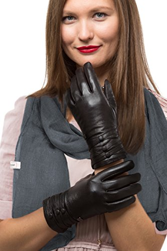 Fashion Sheepskin Leather Gloves For Women, Cold Weather TouchScreen - Thinsulate Lined Long Sleeve Gloves - Button Design - With Thinsulate Liner - Brown - Small (Gloves Fleece Purpose)