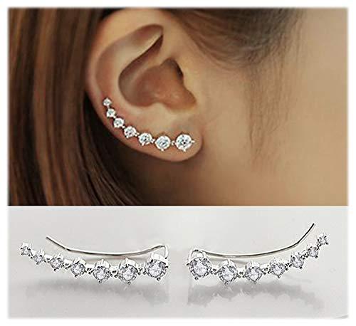 Elensan 7 Crystals Ear Cuffs Hoop Climber S925 Sterling Silver Earrings Hypoallergenic ()