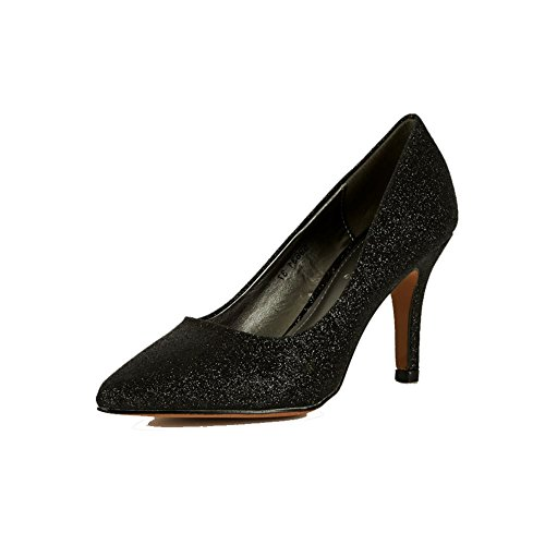 Negro brillante / brillo cubierto puntiagudo tacón zapatos de corte Negro