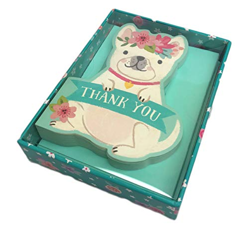 Cute Whimsy Puppy Dog Box of 16 Thank You Note Cards & Envelopes 5.25