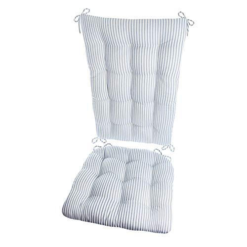 Barnett Products Ticking Stripe Blue Rocking Chair Cushion Set - Standard - Seat Pad and Back Rest with Ties - Reversible, Latex Foam Fill - Made in USA - Shell Back Rocking Chair