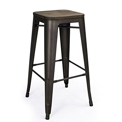 Adeco 30 Quot High Metal Bar Stools Vintage Wood Top Seat